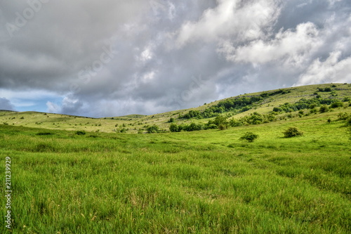 Foto op Aluminium Donkergrijs Beautiful green hill landscape mountain mountains,