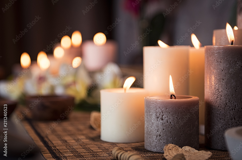 Fototapeta Spa setting with aromatic candles