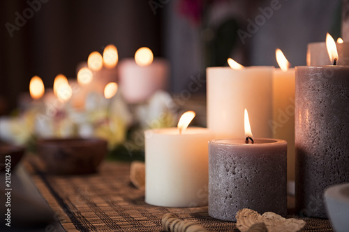 fototapeta na lodówkę Spa setting with aromatic candles