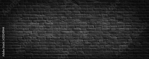 Fotografie, Obraz Black brick wall background.