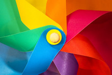 Colorful Red Blue Green Yellow Purple Pinwheel. Children Toy