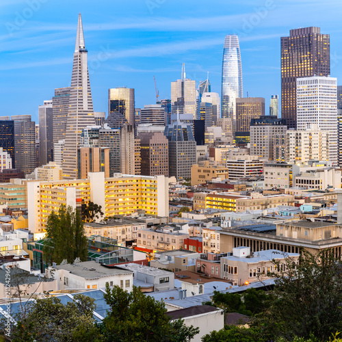 Spoed Foto op Canvas Amerikaanse Plekken San Francisco downtown skyline
