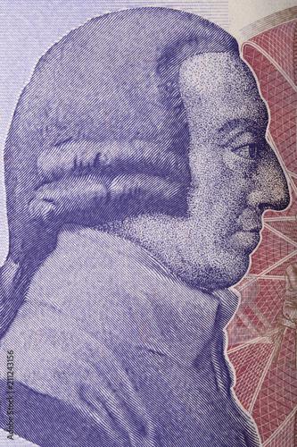 Adam Smith portrait from English money Wallpaper Mural