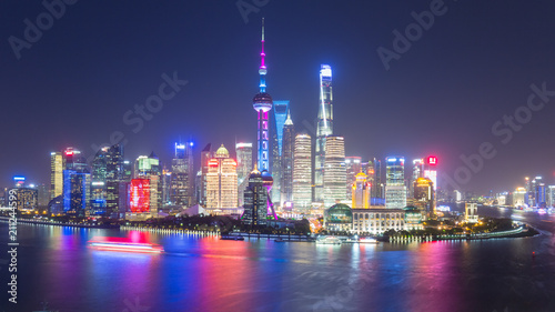 Foto auf Leinwand Shanghai beautiful shanghai skyline at night