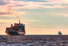 Blue Container Ship Underway