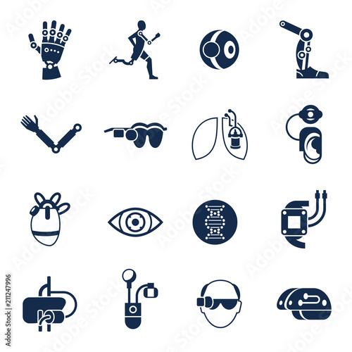 Fotografie, Obraz  Bionics and artificial intelligence icon set