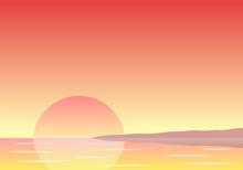 Sonnenuntergang über Dem Meer Mit Küste