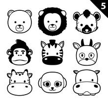 Flat Animal Faces Monochrome Icon Cartoon Vector Set 5 (Safari)