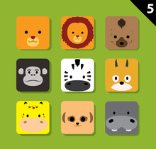 Flat Animal Faces Application Icon Cartoon Vector Set 5 (Safari)