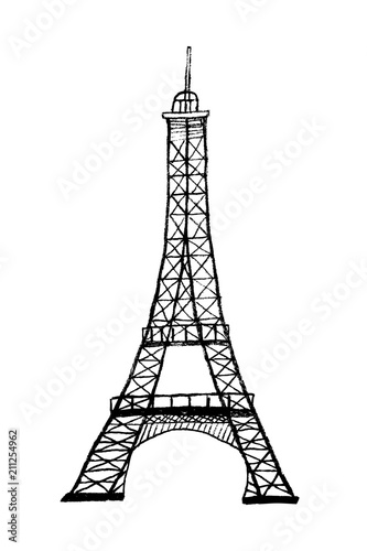 Famous Eiffel Tower In Paris Symbol Of France Hand Drawn Black And
