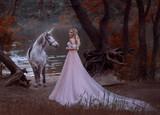 woman fantasy princess met white horse unicorn in autumn woods, forest, dark tree. blonde girl. gentle make-up, wear long vintage pink dress with a lush skirt train hem plum. Artistic Photo