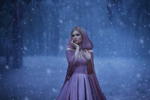 The Blonde Girl, A Bright Elf, Walks In A Gloomy Forest Covered With Fog. It's Cold, The Snow Breaks. The Princess In A Purple Dress And In A Cloak With A Hood. Art Photo In Blue Shades