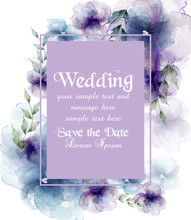 Wedding Card With Watercolor F...
