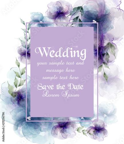 Kartka ślubna z akwarela kwiaty ilustracje wektorowe