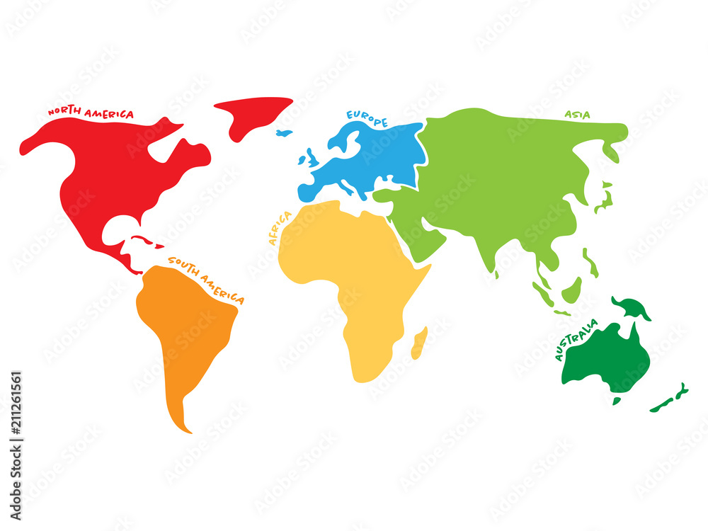 Fototapety, obrazy: Multicolored world map divided to six continents in different colors - North America, South America, Africa, Europe, Asia and Australia. Simplified silhouette vector map with continent name labels