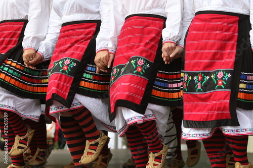 Vászonkép Vratsa, Bulgaria - June 24, 2018: People in traditional authentic folklore costu