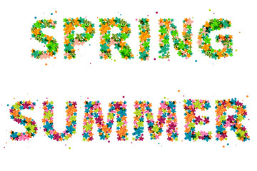 SPRING and SUMMER words created from abstract flowers