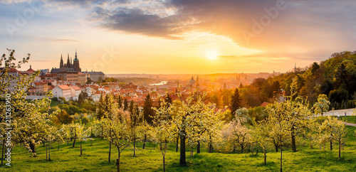 Acrylic Prints Prague A beautiful spring view of Prague at sunrise from Petrin hill. Prague Castle and St. Vitus Cathedral on the left and a golden rising sun in the background.