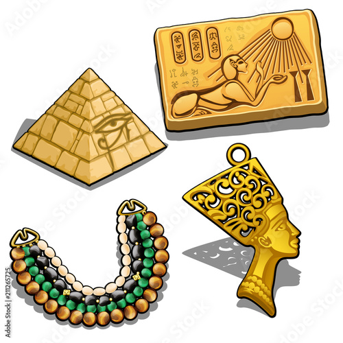 Fotografie, Obraz  Set of attributes and jewelry on the theme of ancient Egypt isolated on white background
