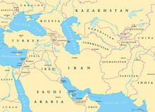 Southwest Asia, Political Map With Capitals, Borders, Rivers And Lakes. Also Called Western, West Or Southwestern Asia. Subregion, Overlapping With Middle East. English Labeling. Illustration. Vector.