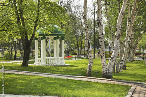 Recess Fitting Road in forest Chekhov square in Yuzhno-Sakhalinsk. Sakhalin island. Russia