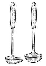 Soup Ladle Illustration, Drawing, Engraving, Ink, Line Art, Vector