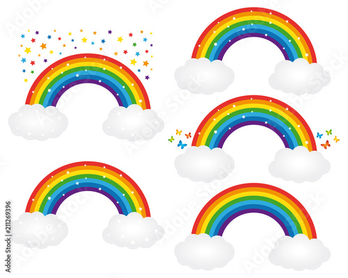 Beautiful starry rainbows illustrations. Vector icons set. Fotobehang