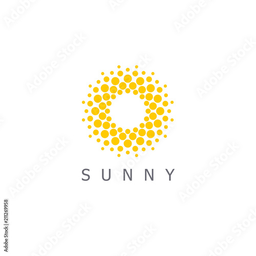 Obraz Vector logo design template. Sun dots icon sign.  - fototapety do salonu