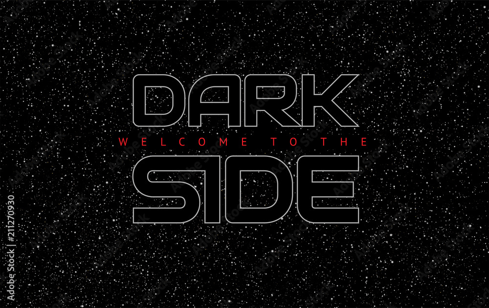 Fotografie, Obraz Dark Side abstract space black background - glowing letters on star sky backgrou