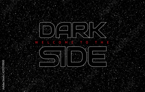 Dark Side abstract space black background - glowing letters on star sky backgrou Wallpaper Mural