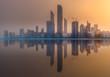 View of Abu Dhabi Skyline at sunset, UAE