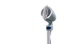 Vintage Microphone On White Ba...