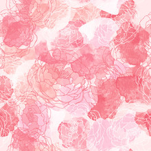 Abstract Painting Universal Freehand Watercolor Seamless Pattern With Roses. Graphic Design For Background, Card, Banner, Poster, Cover, Invitation, Header Or Brochure. Hand Drawn Vector Texture