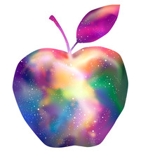 Space Apple Rainbows Galaxy Illustration