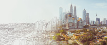 Sketch And Real Mix Urban Cityscape Scene , Development And Real Estate Business Concept , Mixed Media .