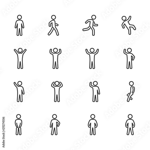 Fotografie, Tablou  Vector image set of posture people line icons.