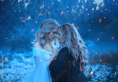 Vászonkép  Two girls of the elements, opposites, love each other cuddly with affection