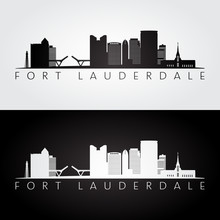 Fort Lauderdale, USA Skyline And Landmarks Silhouette, Black And White Design, Vector Illustration.