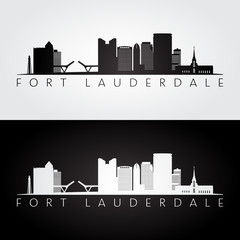 Fort lauderdale, USA skyline and landmarks silhouette, black and white design, vector illustration.
