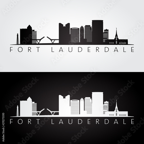 Fort lauderdale, USA skyline and landmarks silhouette, black and white design, vector illustration Fototapeta