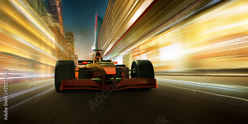 Stampa su Tela Sport racing car fast driving to achieve the champion dreame , motion blur and lighting effect apply