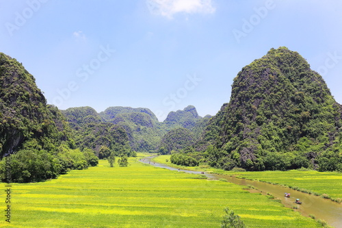 Spoed Foto op Canvas Khaki Tam coc in Ninh Binh ,Vietnam
