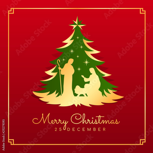 Obraz na plátně Merry Christmas banner card with Nightly christmas scenery mary and joseph in a