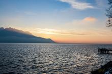 Sunset Twilight Over The Lake.