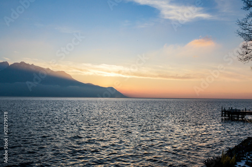 Tablou Canvas Sunset twilight over the lake.