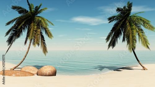 Tropical beach, sea shore with palm trees.