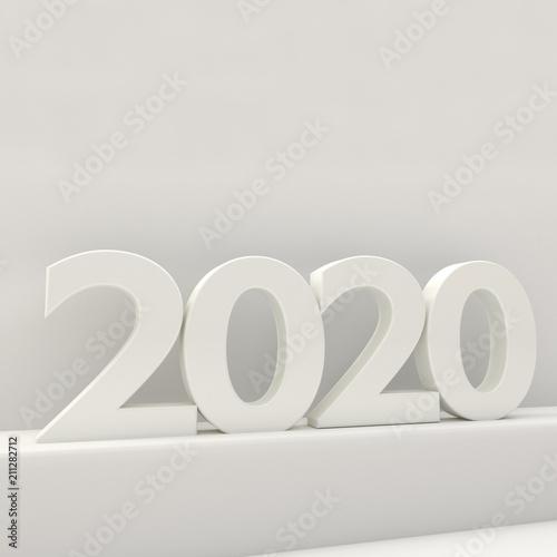 Poster  2020 bold letters 3d-illustration