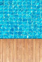 Wooden Floor Edge Of Swimming Pool Background