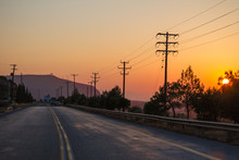 Power Poles At Sunset Street