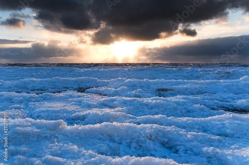 Fotografie, Obraz  Icy Baltic sea coast in winter, Liepaja, Latvia.
